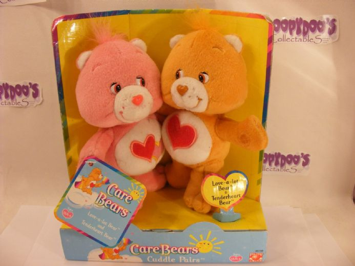 "VHTF 8"" LOVE-A-LOT & TENDERHEART CARE BEARS CUDDLE PAIR"